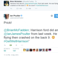 Ian Poulter doesn't take kindly to Brian McFadden's Harrison Ford joke