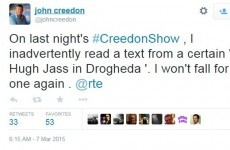 RTÉ's John Creedon was the victim of a classic Simpsons gag last night