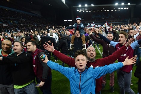 Aston Villa fans celebrate after their FA Cup success yesterday.