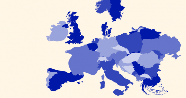 Here's what Europe would look like if it were redrawn based on debt per person