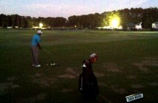 Tiger Woods was all alone on the driving range at 6:30 this morning
