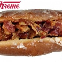 Would you try this bacon-topped hot dog in a doughnut bun?