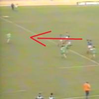 Here's Joe Schmidt in full flight kick-chasing his way to a try in '89