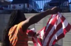 Ferguson protesters tear up American flag