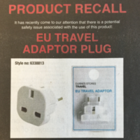 Dunnes recalls travel plug over risk of electrical shock