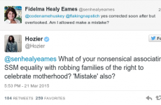 Hozier absolutely owned Fidelma Healy Eames on Twitter over same-sex marriage