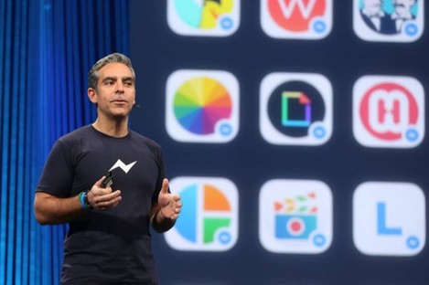 Facebook's VP of Messaging Products David Marcus speaking at F8's keynote.
