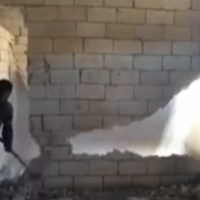 Man demonstrates exactly how NOT to knock down a wall