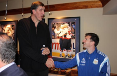 Leo Messi met a former NBA star twice his size last night