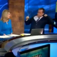 A weatherman found a coat hanger still in his suit jacket live on air