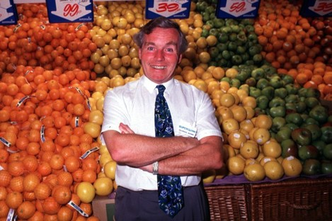 Feargal Quinn poses in a Superquinn supermarket in the early 1990s. Quinn sold the chain, which he founded, in 2005.