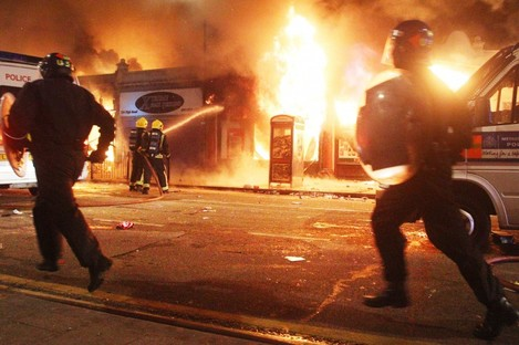 Riot police in Tottenham after trouble flared on August 6