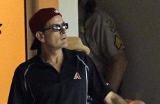 Charlie Sheen takes batting practice with Diamondbacks