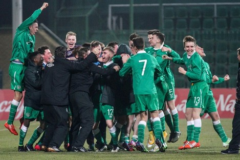 Ireland players celebrate at the end of the game after qualifying for the UEFA U17 European Championships.