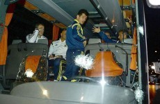 Fenerbahce's team bus was shot at last night, leaving the driver wounded