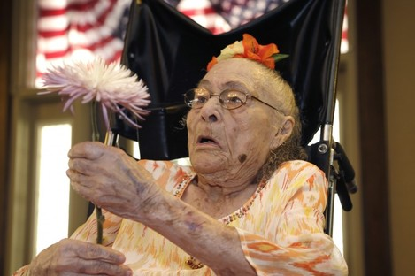 Gertrude Weaver, the day before her 116th birthday, 3 July 2014