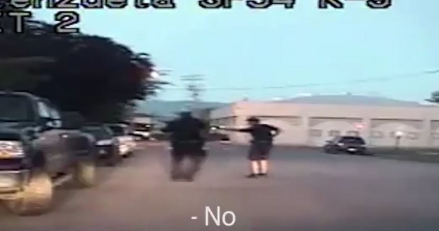 Footage shows moment two police officers shot dead mentally ill pregnant woman