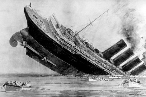 Artist's impression of the sinking of the Lusitania.