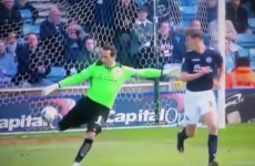 Ireland goalkeeper David Forde takes out Millwall team-mate with a kick-out to the head