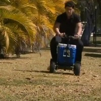 Watch: Man charged for drink-driving on his motorised beer cooler