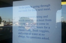 This sandwich shop is going viral for its lovely note to person eating from dumpster