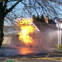 PICS: Two workmen injured after gas main explodes near petrol station
