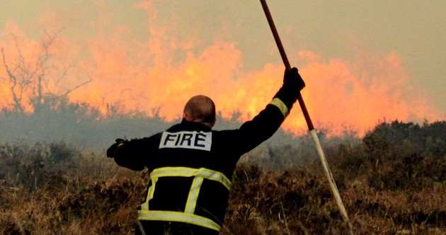 Pics: Dozens of firefighters battle bogland wildfire for twelve hours