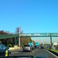 Some wonderful person has erected a 'Careful Now' sign on the N11
