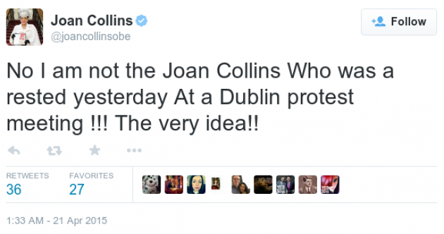 Joan Collins (the actress) tweets to say she's not Joan Collins (the arrested TD)