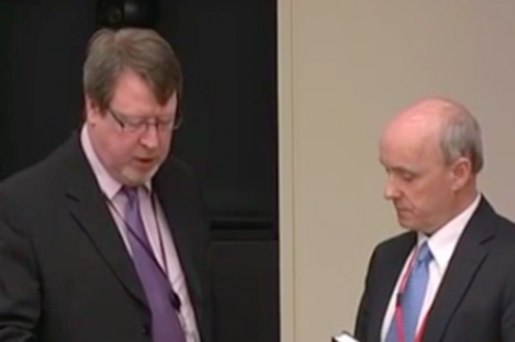 Donal Forde takes the oath at the banking inquiry today