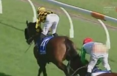 A jockey accidentally flashed his arse to thousands of people during a race today