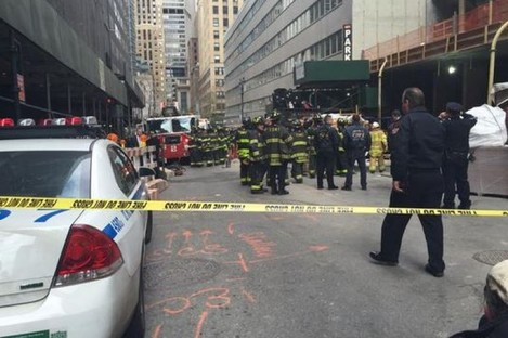 The scene of today's fatal accident on East 44th St in Manhattan.