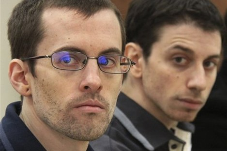 File photo dated 6 February 2011 of US hikers Shane Bauer, left, and Josh Fattal in court in Tehran.