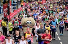 A giant pair of balls took part in Sunday's London Marathon