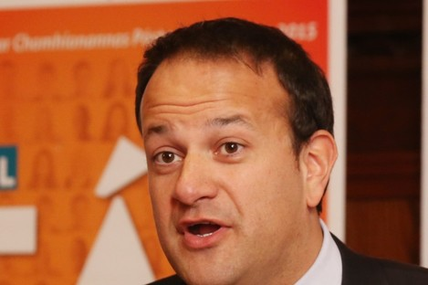 Leo Varadkar at the Fine Gael campaign launch today.