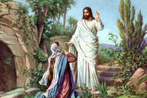 Mary Magdalene sees Jesus
