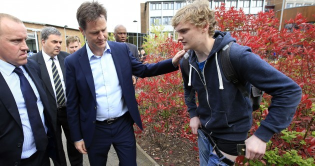 Someone just dropped their trousers in front of Nick Clegg while asking for a selfie