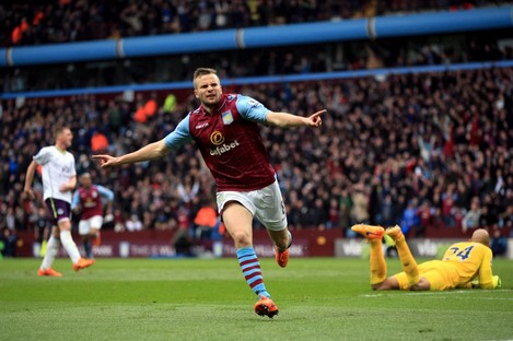 Tom Cleverley scored Villa's all-important third against Everton.