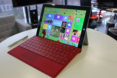The Surface 3 with type cover and stylus pen.