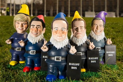 The leaders of the five main parties in gnome form. (LtoR: Nicola Sturgeon, Ed Miliband, David Cameron, Nick Clegg and Nigel Farage)