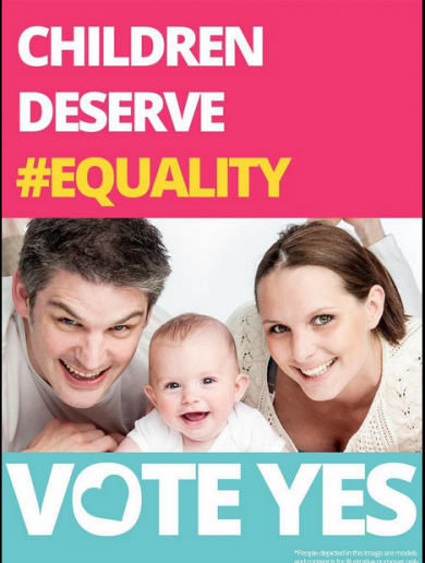 The family in the No poster say they would vote Yes in same-sex marriage referendum