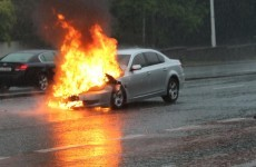 There is a car on fire on the N11