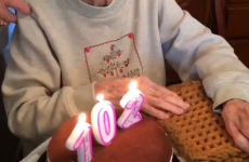 Watch this 102-year-old woman with her birthday cake, and wait for it...