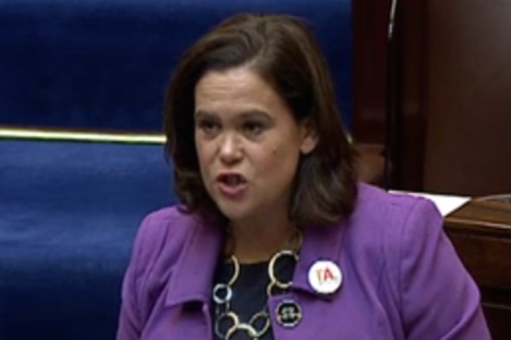Mary Lou McDonald sporting a badge promoting a Yes vote in the Dáil today.