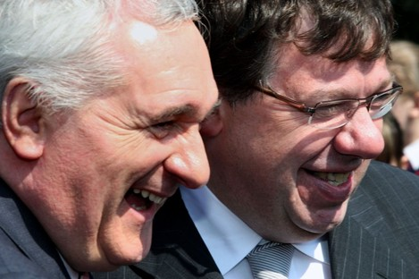 Bertie Ahern and Brian Cowen in happier times.