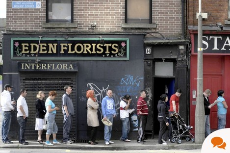 People on a dole queue in Dublin