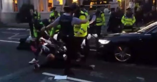 Joan Burton's car blocked by protesters at same-sex marriage event