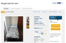 This brazen London property ad offered a single bed to rent in someone's kitchen