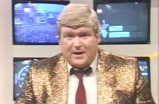 Derek Davis in a fabulous gold jacket at the helm of RTÉ's Live Aid coverage