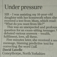 This excellent Telegraph reader's letter demonstrates the perils of predictive text